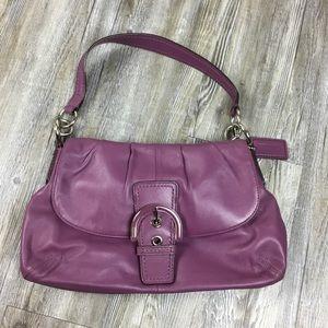 COACH  Soho Leather Flap Buckle Berry Hobo Handbag